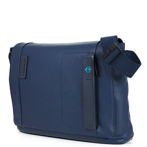 Piquadro Pulse Borsa Messenger, Pelle, Blu, 37 cm