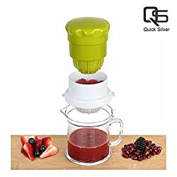 Quick Silver: 2 in One Multi Use Hand Press Manual Juicer for Pomegranate, Water Melon, Strawberry, Grapes Healthy Fresh All in one Juice