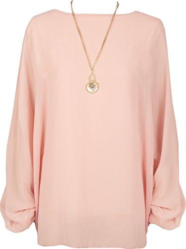 WearAll - Grande taille mousseline doublé collier haut top à manches chauve-souris - Hauts - Femmes - Tailles 42 à 48 Rose