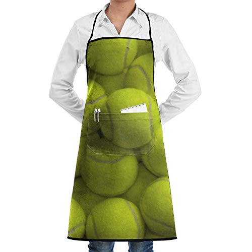 Drempad Schürzen Tennis Balls Bib Apron Chef Apron - with Pockets for Male and Female,Waterproof, Resistant to Droplets, Durable, Machine Washable, Comfortable, Easy Care Apron