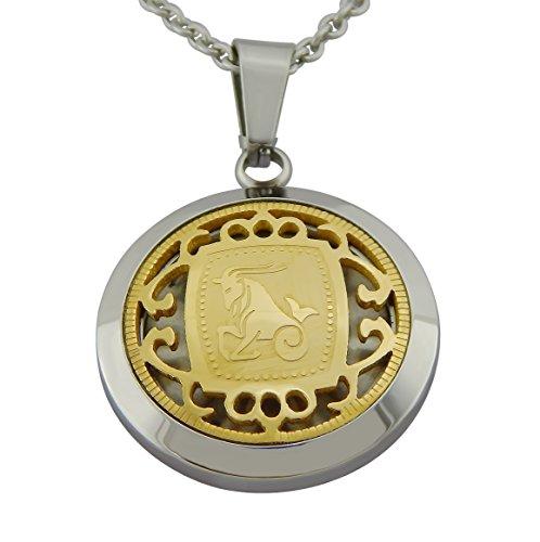 Hanessa Gravierte goldene Steinbock Sternzeichen-Halskette aus Edelstahl mit Datums-Gravur auf der Rückseite. Geschenk zu Weihnachten für Steinböcke in Gold