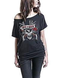 Camisetas de Manga Corta con Estampado de Calavera en un Hombro Camisetas de Verano con Estampado