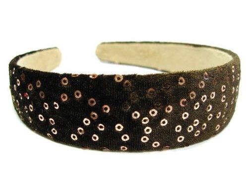 rougecaramel - accessoires cheveux - Serre tête/headband large velours - marron