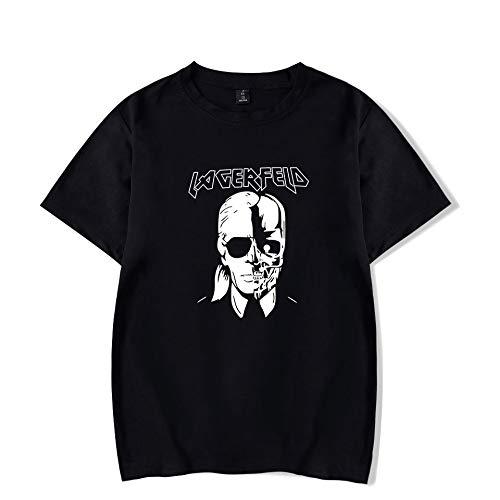 INSTO T-Shirt Mode Karl Lagerfeld Drucken Kurze Ärmel T-Stück Beiläufig Lose Unisex Trikot Mehrfarben Optional/Schwarz/L