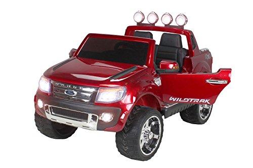 Ford Ranger mit schwarze Farbe Metallic, Elektroauto für Kinder 2Sitzer, 12V, 2Motoren (Kleine Jacks Motoren)