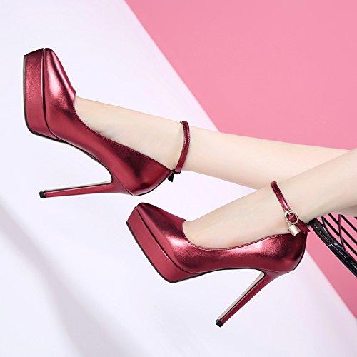 GTVERNH-Il Nuovo Super Tacco Sottile Impermeabile Piattaforma Sola Scarpa, Primavera E Autunno Snap Con Sexy Superficiale Le Scarpe Violet