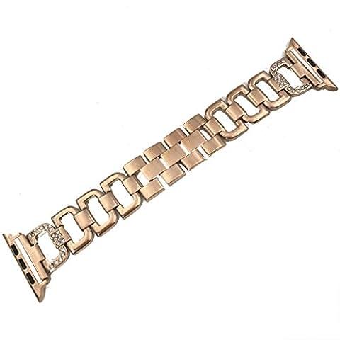 Gaddrt Bandkin acier inoxydable courroie Crystal Diamond bracelet pour Apple Watch 1/2, 38mm/42mm (Doré, 38mm)