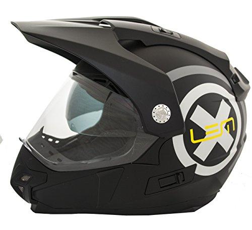 Casco Moto LEM - Trail X Deco- NEGRO MATE (M)