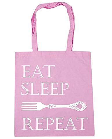 hippowarehouse Eat Sleep Fourchette Repeat Sac Shopping Gym Sac de plage 42cm x38cm, 10litres - rose - Taille unique