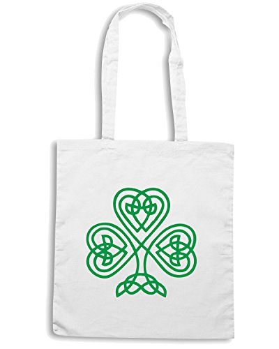 T-Shirtshock - Borsa Shopping TIR0018 celtic knot shamrock dark tshirt Bianco