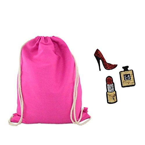 Sonia Originelli Rucksack Uni Backpack Gymbag Beutel Patches DIY Lippenstift Parfüm Highheel Farbe Pink