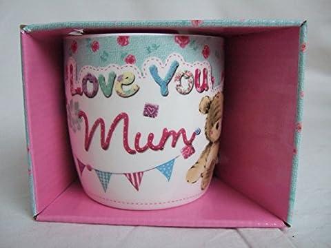 Love You Mum Multi Coloured Cute Teddy Bear Sentimental Mug by Teddy Mugs