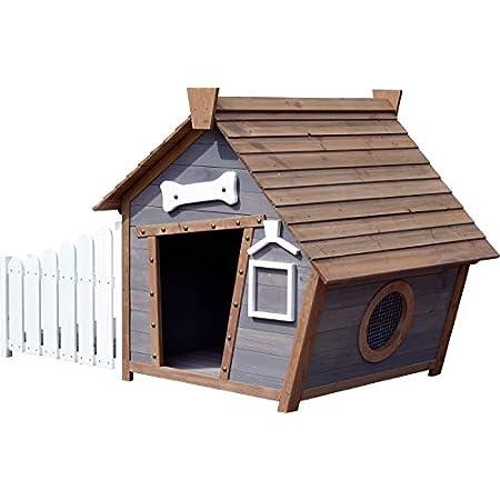 dobar 55016FSCe Outdoor-Hundehütte mit Spitzdach und seitlicher Veranda Comic-Design, FSC-Holz, 146, 3 x 90 x 96 cm…