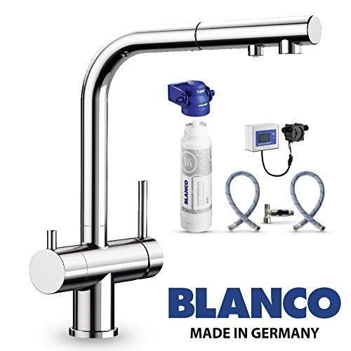 """Designer 3 Wege Armatur BLANCO Chrom mit ausziehbarer Brause inkl. BWT Wasserfilter ! Der Wasserhahn mit 3 Anschlüssen und einer\""""echten\"""" ausziehbarer Handbrause für Osmoseanlagen Wassersprudler"""