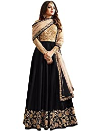 Rozy Fashion Black Banglori Silk Embroidered Semi Stitched Long Anarkali Suit