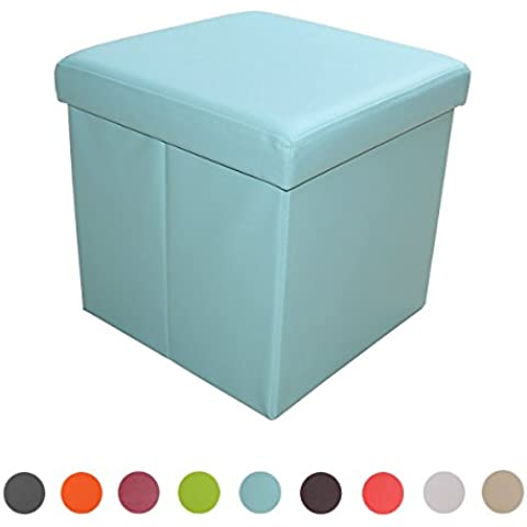 stylehome® Asiento banco Puff con caja soporte Banco taburete plegable Soporta piel sintética Selección de Colores Tamaño Selección 1638–15de color azul claro