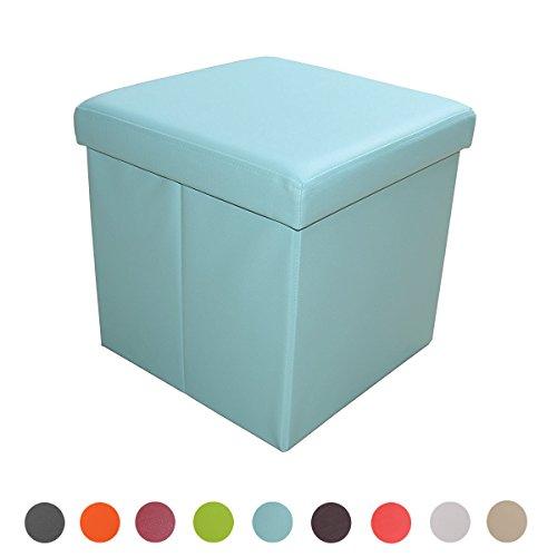 Stylehome® Sitzbank Sitzhocker Aufbewahrungsbox mit Stauraum faltbar belastbar bis 300 kg Kunstleder 38 x 38 x 38 cm … (Hellblau) (Stauraum Gepolsterte Sitzbank Mit)