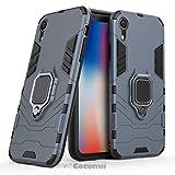 Cocomii Black Panther Armor iPhone XR Hülle [Strapazierfähig] Taktisch Metallring Griff Ständer [Funktioniert Mit Magnetischer Autohalterung] Case Schutzhülle for Apple iPhone XR (B.Black)