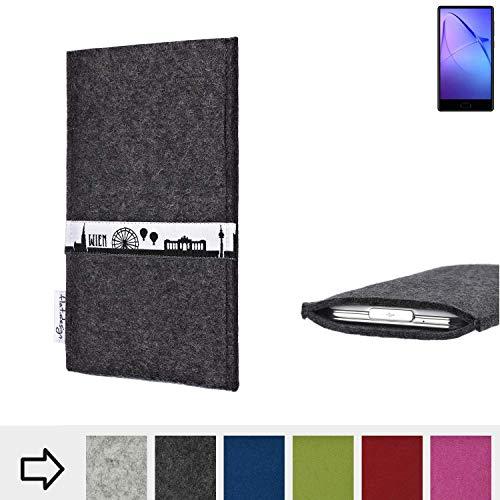 flat.design für Leagoo KIICA Mix Schutztasche Handy Hülle Skyline mit Webband Wien - Maßanfertigung der Schutzhülle Handy Tasche aus 100% Wollfilz (anthrazit) für Leagoo KIICA Mix