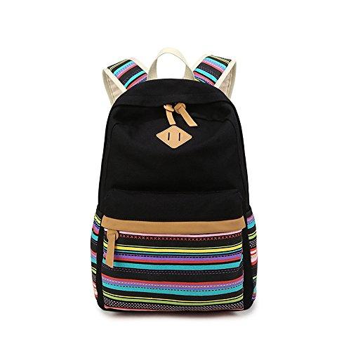 Bunte Streifen Druck Freizeit Segeltuch Schule Rucksack Reise Laptop Rucksack Schulter Bücher Daypack für Jugendlich Junge Mädchen Schwarz