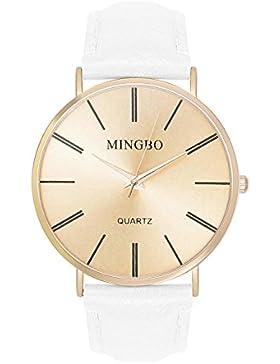 Damenuhr Mingbo Römische Ziffern Farbe: Gold Weiß Armbanduhr Blogger Uhr Uhren Trenduhren Bloggeruhr Minimalistisch...