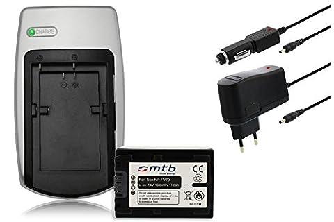 Chargeur + Batterie NP-FV70 pour Sony DCR, HDR, NEX - voir liste de compatibilité