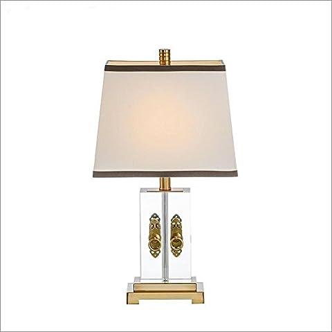 OOFWY E27 Tischlampe Chinesisch Moderne minimalistische Stil für Hotel Schlafzimmer Wohnzimmer Bedside Dekoration Gewebte Stoff Kupfer Transparente Kristall Galvanisch Metall Schreibtischlampen Höhe 53CM