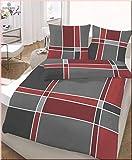 Feinbiber Bettwäsche 135x200 cm Dessin 47689-215 kirschrot made in Germany Markenware von Ido Homewear