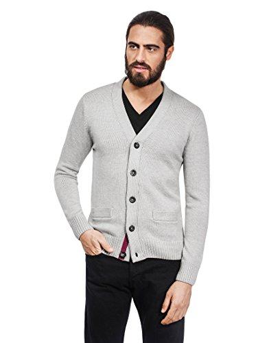VB-Cardigan da donna, lavorato a maglia grossa, Uomo Slim Fit Grey Large