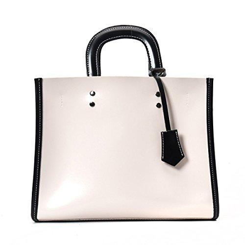 PDFGO Handtaschen Große Kapazität Mezzanine Tasche Handtasche Ölhaut Reißverschluss Einfarbige Tasche Umhängetasche Tote Tasche White