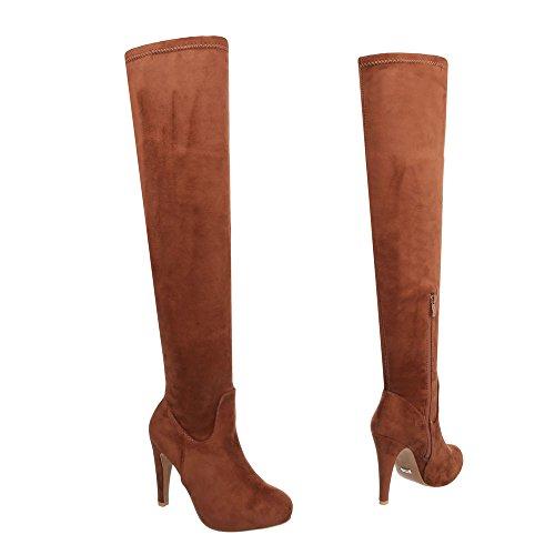 Overknees Damenschuhe Klassischer Stiefel Pfennig-/Stilettoabsatz High Heels Reißverschluss Ital-Design Stiefel Camel