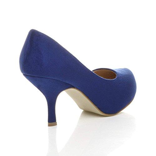 Scarpe Da Donna Piccole Tacco Medio Nascoste Con Plateau Da Lavoro Scarpe Da Ginnastica Dimensioni Blu Scamosciato