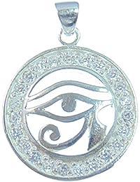 All de schützendes Ojo, Plata Colgante, ojo de Horus, símbolo para protección contra el Energías negativos, de plata de ley 925con Truc freecolor cristales