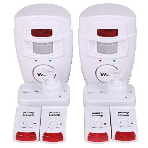 [2 Stück] WER Hausalarm Bewegungsmelder Alarmanlage Bewegungssensor + 2 Fernbedienungen, drahtlose PIR Infrarot Security, Alarm mit Bewegungserkennung Alarmmelder Funk (2 Stück)