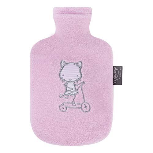 Fashy Wärmflasche Kind Flauschbezug rosa, 0.8 L, 1er Pack (1 x 1 Stück)