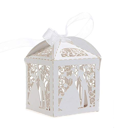 Pu Ran- 10PCS Band Hollow Out Candy Boxen Hochzeit Engagement Party Supply White Type 1
