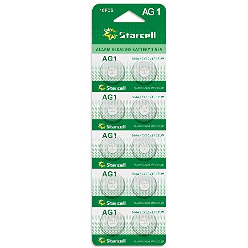 Act Alkaline Knopfzellen ohne Quecksilber AG1/LR60/LR621/364 (1,5 Volt, 10er Pack)