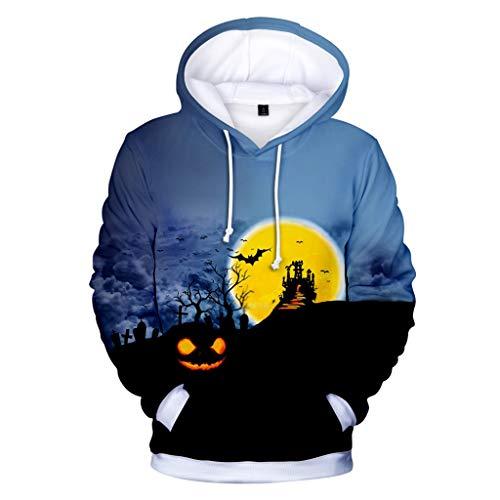 MOIKA Halloween Deko Unisex Kinder Jungen Mädchen Unheimlich Graphic Hoodies Coole 3D Kürbiskopf Drucken Langarm Pullover Hooded für - Duo Kostüm Junge Und Mädchen