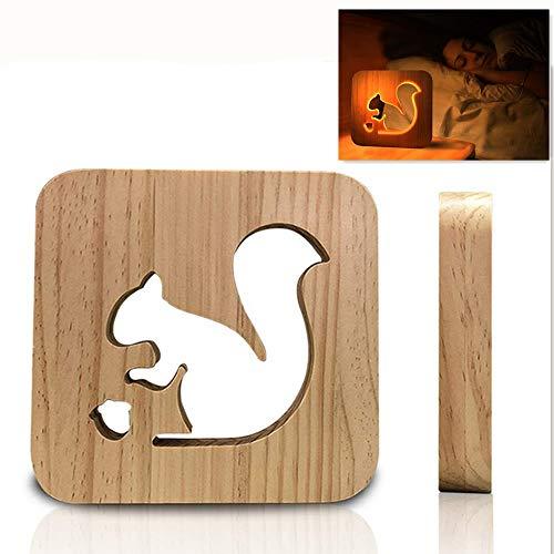 SD&EY 3D-Holz-LED-Nachtlichter, Illusion Eichhörnchen-Lampe für Schlafbeleuchtung Geschenke Geburtstags-Geschenke Schlafzimmer Erwärmung Dekor Ideal Kunst und Handwerk