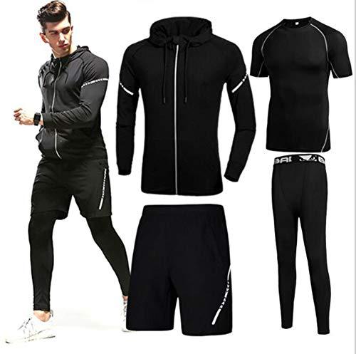 QJXSAN Sport-Fitness-Bekleidung Set Herren Stretch Casual Wear schnell trocknend Laufen Fitness-Kleidung 4-teiliges Set
