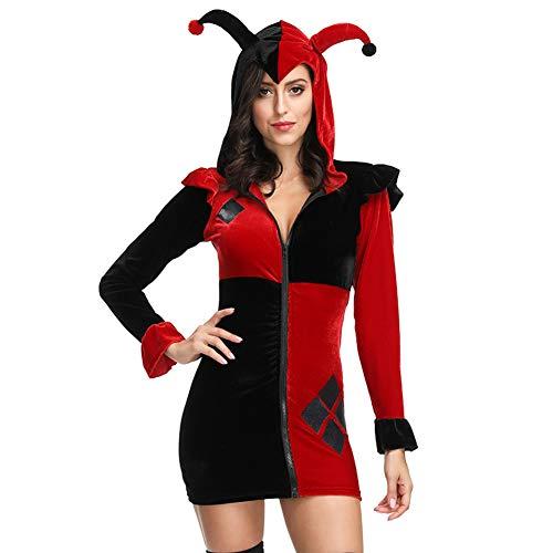 Ladies Maid Kostüm Mittelalter Damen, Cord Blauer Rock + Weiße Schürze + Kopfbedeckung, Halloween Gewöhnliche Bühne-Redblack-M (Halloween-kostüme Womens 2019 Lustig)