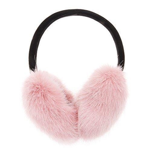 ZLYC Klassischer Damen Kinder Mädchen Verstellbarer Winter Ohrenschützer Ohrenwärmer mit Molton-Haarreifen (One size, Rosa)