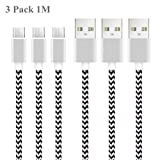 Micro USB Kabel, 3Pack 1M Micro USB Ladekabel USB 2.0 Datakabel Nylon Geflochtenes High Speed Sync und Schnellladekabel für Samsung Nexus HTC LG Nokia Kindle und mehr Android Gerät (3Pack-1M)
