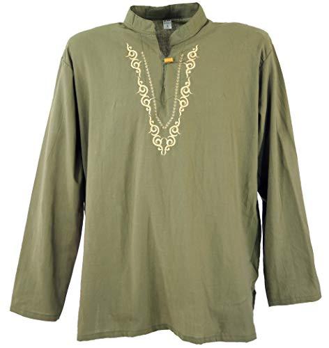 Guru-Shop Yoga Hemd Bestickt, Goa Shirt, Herren, Olive Muster 4, Baumwolle, Size:M, Männerhemden Alternative Bekleidung