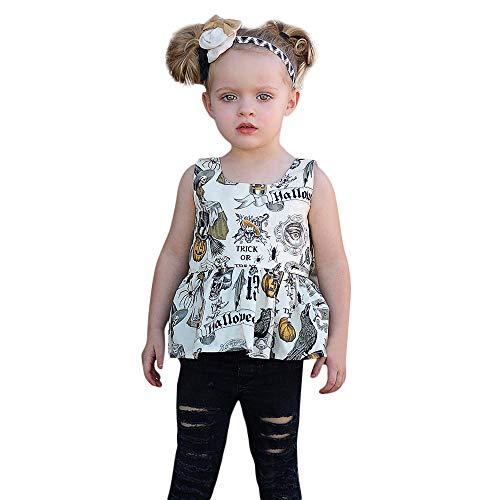 MDenker Niedlich Babykleidung, Baby ärmellose Halloween Kürbis Top Shorts Set Kapuze Oberseiten + Hosen Ausstattung EIN Outfits Set