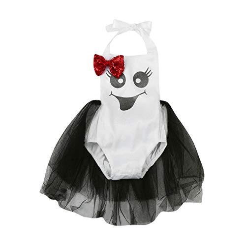 (NPRADLA 2018 Neugeborenen Baby Mädchen Pailletten Bogen Gedruckt Strampler Halloween Kleidung)