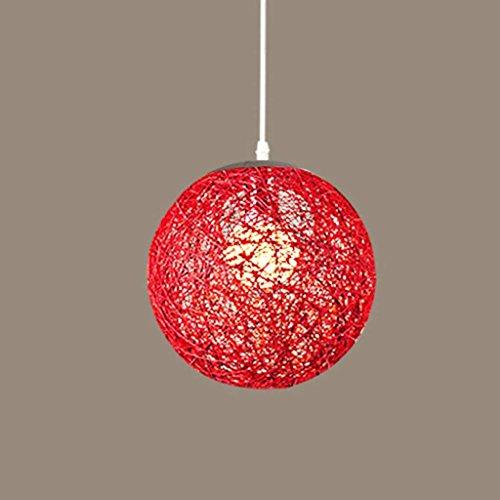 DEED Lampe-Beleuchtete kreative Persönlichkeit Hanf-Kugel-Leuchter-Bar-Retro- Leuchter-Balkon-Ball-Hanf-Seil-Leuchter-dekorative Beleuchtung,20CM,Red