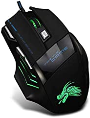 Gaming Mouse 7 Buttons Adjustable 5500DPI Wired USB Cable LED Optical Gamer Mouse for PC Computer Laptop