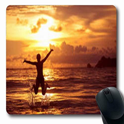 Körper Erholung (Luancrop Mousepads Mädchen-Kaukasier Steht Küste-Sonnenaufgang-Parks im Freienstrand-Sport-Erholungs-Körper-längliches Spiel-Mausunterlage-rutschfeste Gummimatte still)