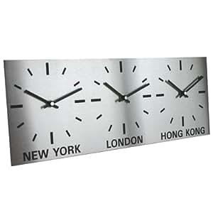 Horloge Triple en Acier Inox Brossé (L45cm x H17cm (15cm diamètre cadrans))